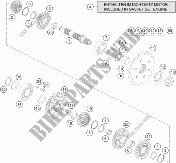 GEARBOX COUNTERSHAFT for HVA 701 SUPERMOTO 2016